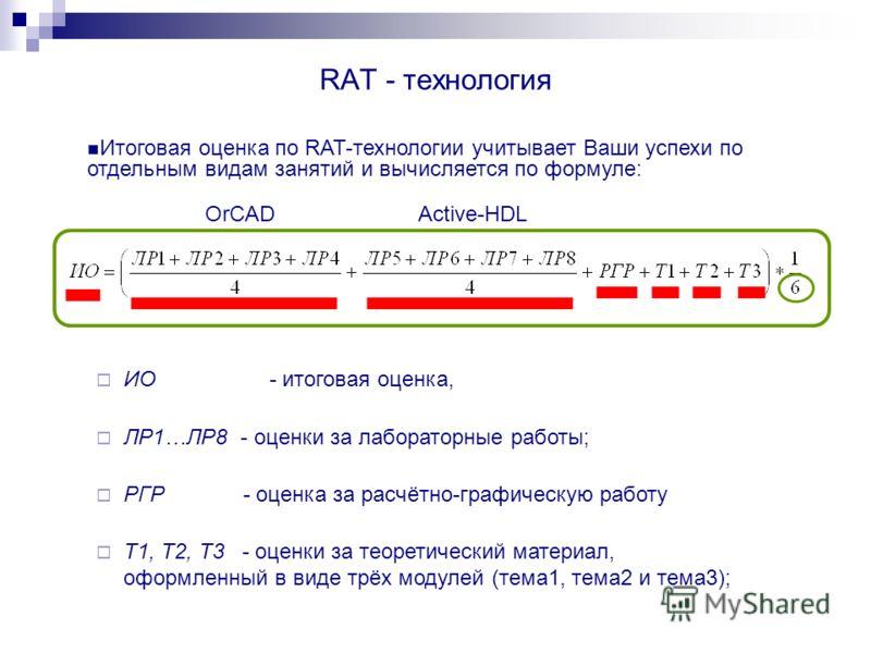 RAT - технология ИО - итоговая оценка, ЛР1…ЛР8 - оценки за лабораторные работы; РГР - оценка за расчётно-графическую работу Т1, Т2, Т3 - оценки за теоретический материал, оформленный в виде трёх модулей (тема1, тема2 и тема3); Итоговая оценка по RAT-