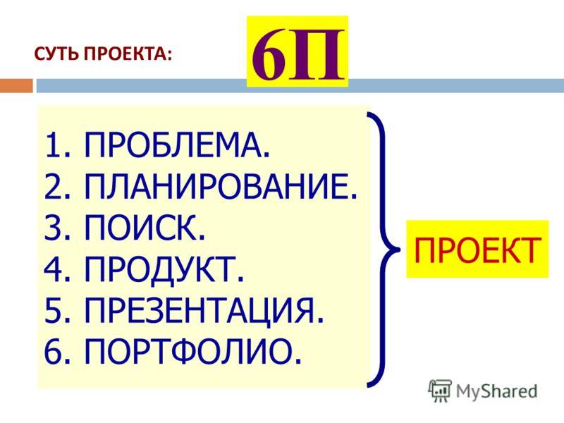 СУТЬ ПРОЕКТА : 6П 1. ПРОБЛЕМА. 2. ПЛАНИРОВАНИЕ. 3. ПОИСК. 4. ПРОДУКТ. 5. ПРЕЗЕНТАЦИЯ. 6. ПОРТФОЛИО. ПРОЕКТ