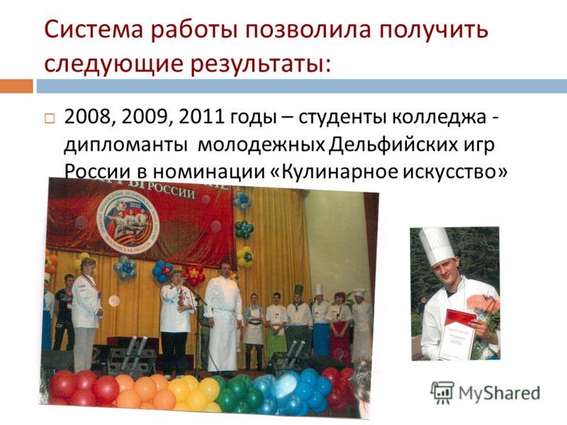 Система работы позволила получить следующие результаты : 2008, 2009, 2011 годы – студенты колледжа - дипломанты молодежных Дельфийских игр России в номинации « Кулинарное искусство »