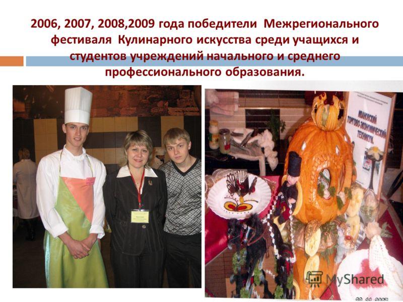 2006, 2007, 2008,2009 года победители Межрегионального фестиваля Кулинарного искусства среди учащихся и студентов учреждений начального и среднего профессионального образования.