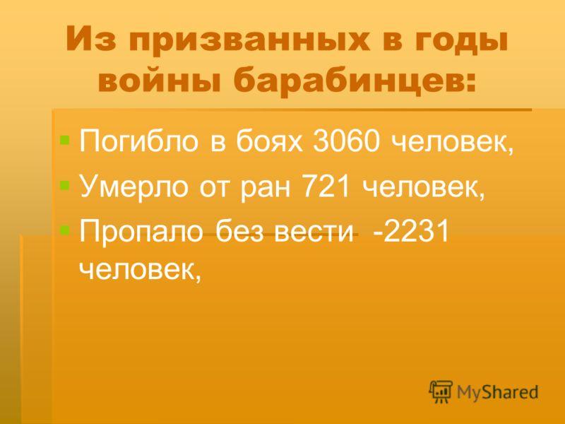 Из призванных в годы войны барабинцев: Погибло в боях 3060 человек, Умерло от ран 721 человек, Пропало без вести -2231 человек,