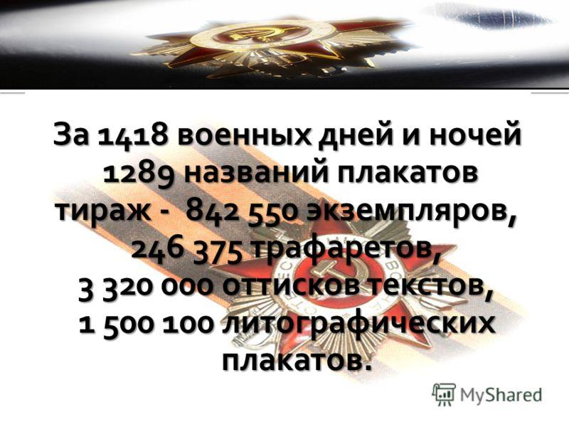 За 1418 военных дней и ночей 1289 названий плакатов 1289 названий плакатов тираж - 842 550 экземпляров, 246 375 трафаретов, 3 320 000 оттисков текстов, 1 500 100 литографических плакатов.