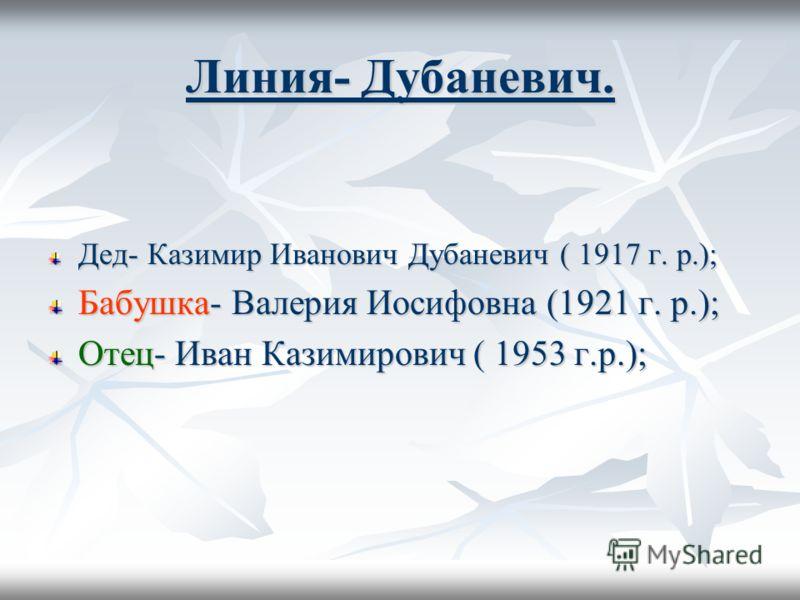 Линия- Дубаневич. Дед- Казимир Иванович Дубаневич ( 1917 г. р.); Бабушка- Валерия Иосифовна (1921 г. р.); Отец- Иван Казимирович ( 1953 г.р.);