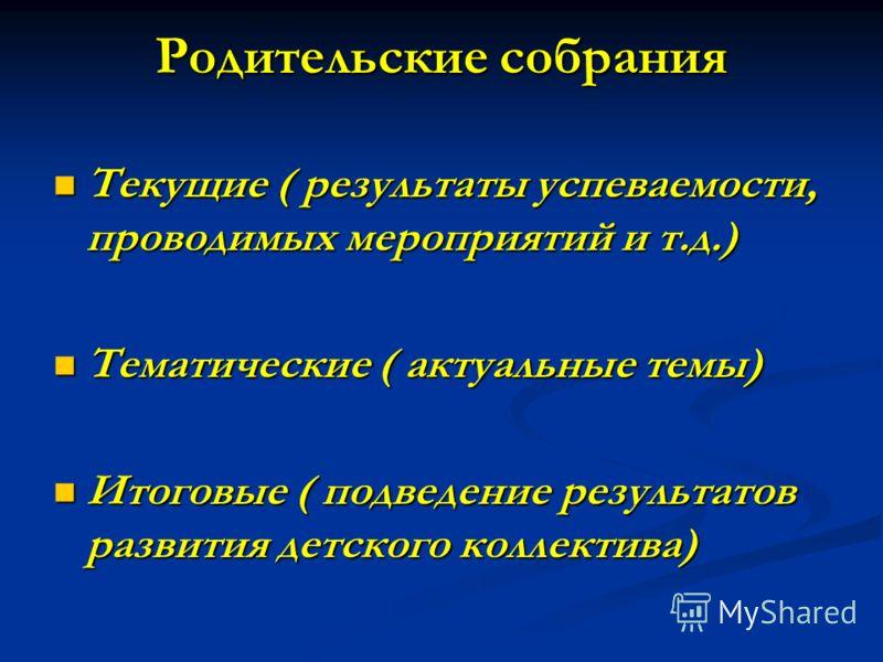 Родительские собрания Текущие ( результаты успеваемости, проводимых мероприятий и т.д.) Текущие ( результаты успеваемости, проводимых мероприятий и т.д.) Тематические ( актуальные темы) Тематические ( актуальные темы) Итоговые ( подведение результато