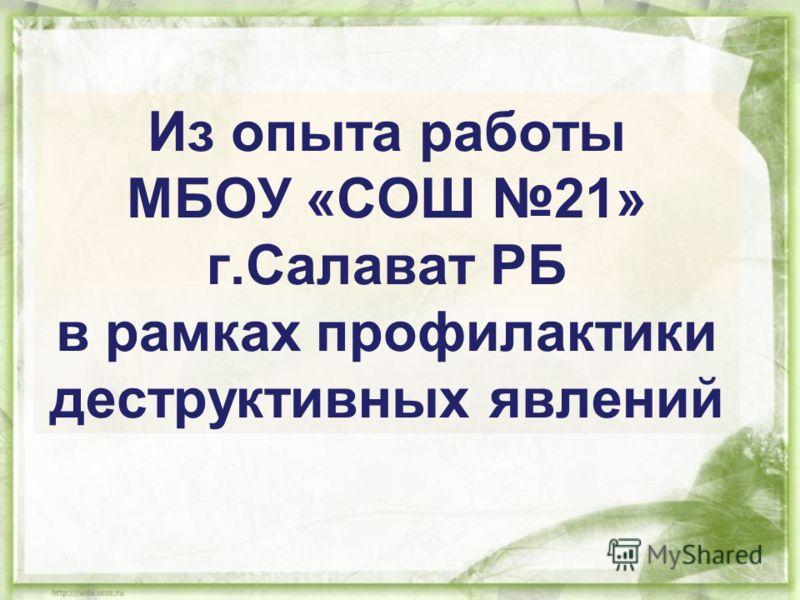 Из опыта работы МБОУ «СОШ 21» г.Салават РБ в рамках профилактики деструктивных явлений