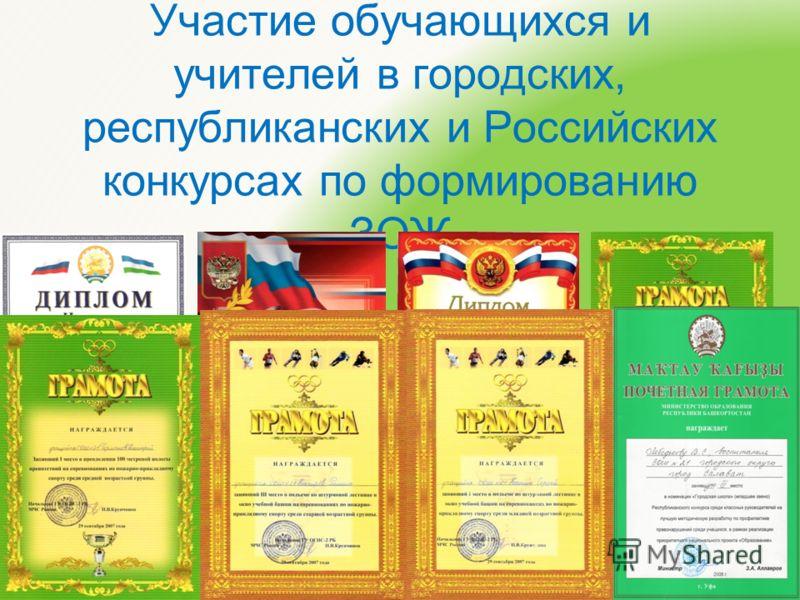 Участие обучающихся и учителей в городских, республиканских и Российских конкурсах по формированию ЗОЖ