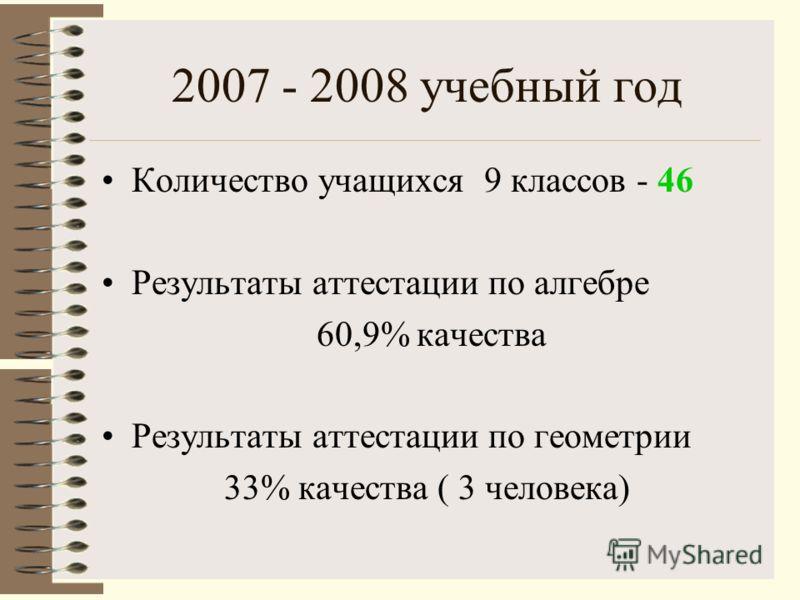 2007 - 2008 учебный год Количество учащихся 9 классов - 46 Результаты аттестации по алгебре 60,9% качества Результаты аттестации по геометрии 33% качества ( 3 человека)