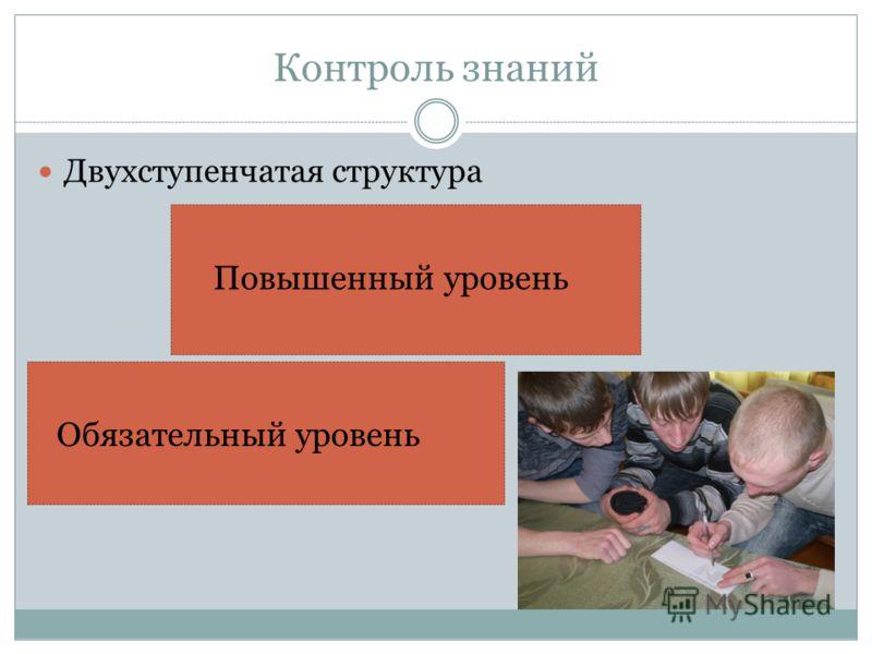 Контроль знаний Двухступенчатая структура Обязательный уровень Повышенный уровень
