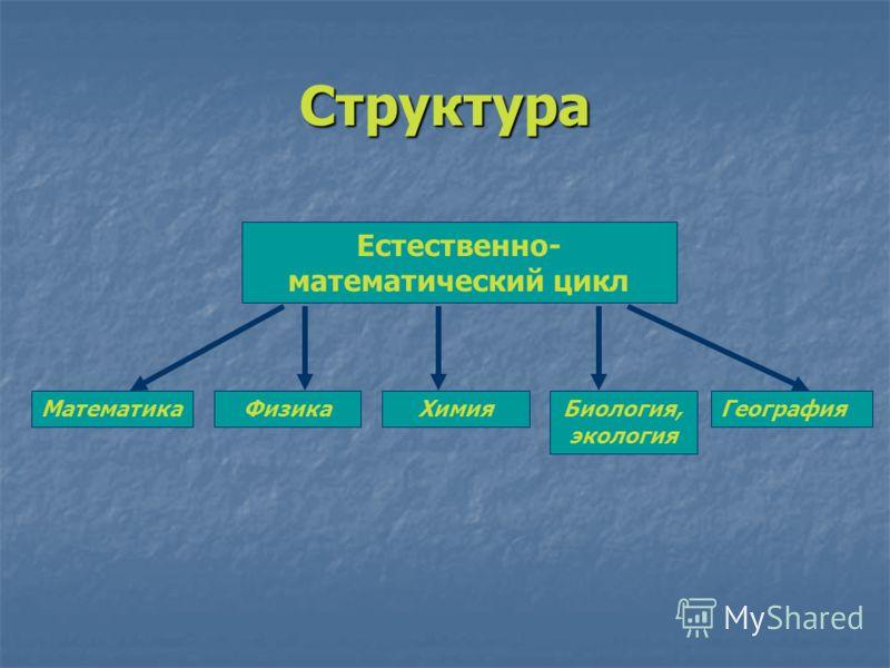 Структура Естественно- математический цикл МатематикаГеографияБиология, экология ХимияФизика