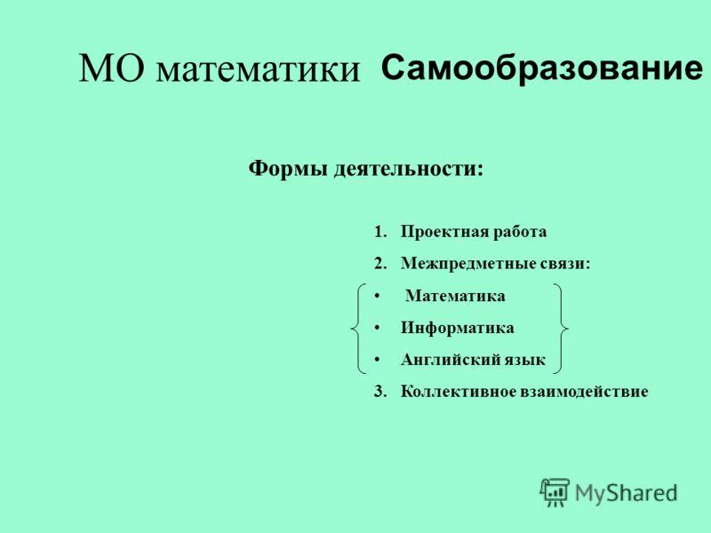 МО математики Формы деятельности: 1.Проектная работа 2.Межпредметные связи: Математика Информатика Английский язык 3.Коллективное взаимодействие Самообразование
