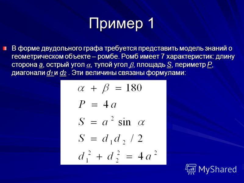 Пример 1 В форме двудольного графа требуется представить модель знаний о геометрическом объекте – ромбе. Ромб имеет 7 характеристик: длину сторона а, острый угол, тупой угол, площадь S, периметр P, диагонали d 1 и d 2. Эти величины связаны формулами: