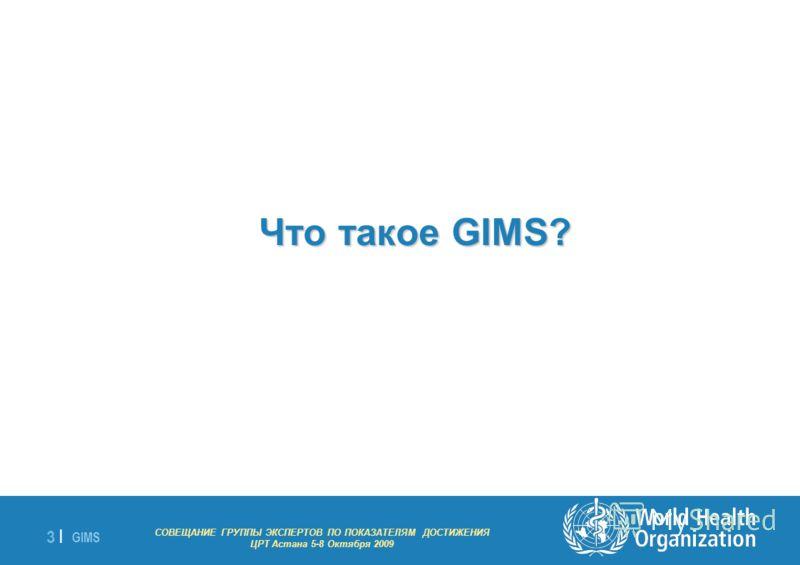 GIMS - EXPERT GROUP MEETING ON MDG INDICATORS Astana 5-8 October 2009 3 |3 | Что такое GIMS? СОВЕЩАНИЕ ГРУППЫ ЭКСПЕРТОВ ПО ПОКАЗАТЕЛЯМ ДОСТИЖЕНИЯ ЦРТ Астана 5-8 Октября 2009