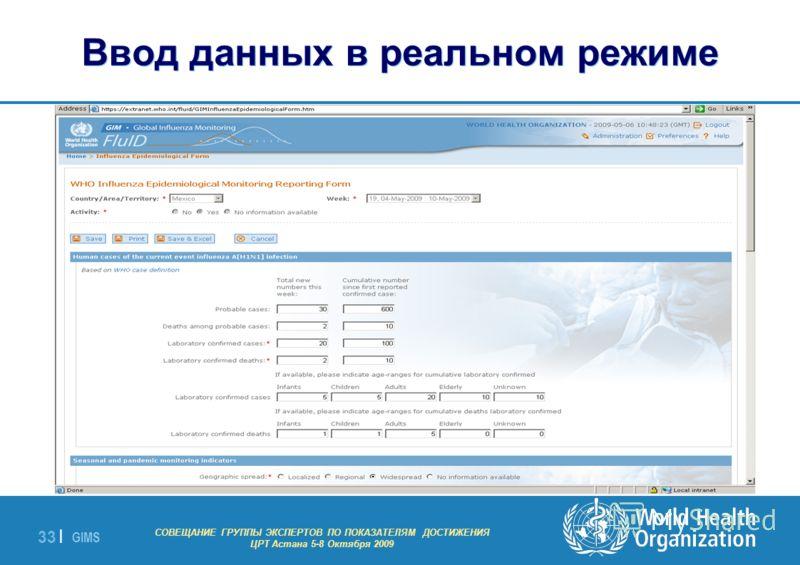 GIMS - EXPERT GROUP MEETING ON MDG INDICATORS Astana 5-8 October 2009 33 | Ввод данных в реальном режиме СОВЕЩАНИЕ ГРУППЫ ЭКСПЕРТОВ ПО ПОКАЗАТЕЛЯМ ДОСТИЖЕНИЯ ЦРТ Астана 5-8 Октября 2009