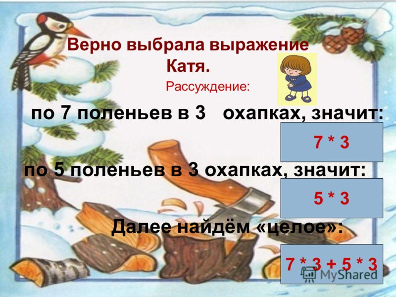 Задание 3. Какое выражение является решением задачи: «Емеля наколол 3 охапки берёзовых дров по 7 поленьев в каждой и 3 охапки сосновых дров по 5 поленьев в каждой. Сколько всего поленьев наколол Емеля?» 7 * 3 – 5 * 3 7 * 3 + 5 * 3 3 * 7 + 3 * 5 Катя