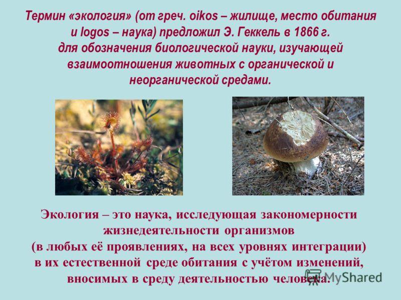 Термин «экология» (от греч. oikos – жилище, место обитания и logos – наука) предложил Э. Геккель в 1866 г. для обозначения биологической науки, изучающей взаимоотношения животных с органической и неорганической средами. Экология – это наука, исследую