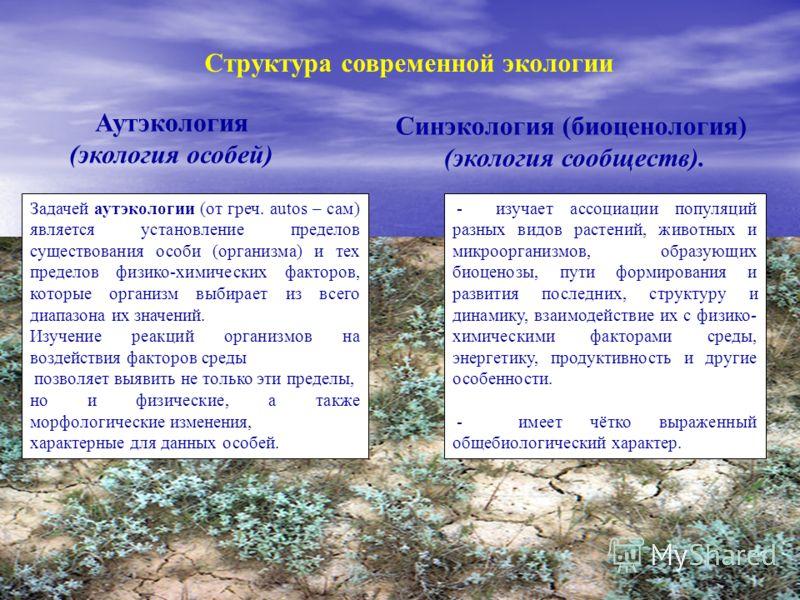 Структура современной экологии Аутэкология (экология особей) Синэкология (биоценология) (экология сообществ). Задачей аутэкологии (от греч. autos – сам) является установление пределов существования особи (организма) и тех пределов физико-химических ф
