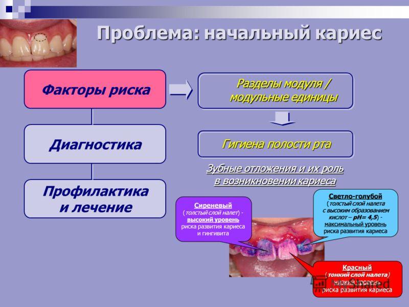 Факторы риска Диагностика Профилактика и лечение Разделы модуля / модульные единицы Гигиена полости рта Зубные отложения и их роль в возникновении кариеса Проблема: начальный кариес