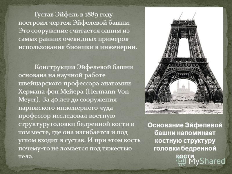 Густав Эйфель в 1889 году построил чертеж Эйфелевой башни. Это сооружение считается одним из самых ранних очевидных примеров использования бионики в инженерии. Конструкция Эйфелевой башни основана на научной работе швейцарского профессора анатомии Хе