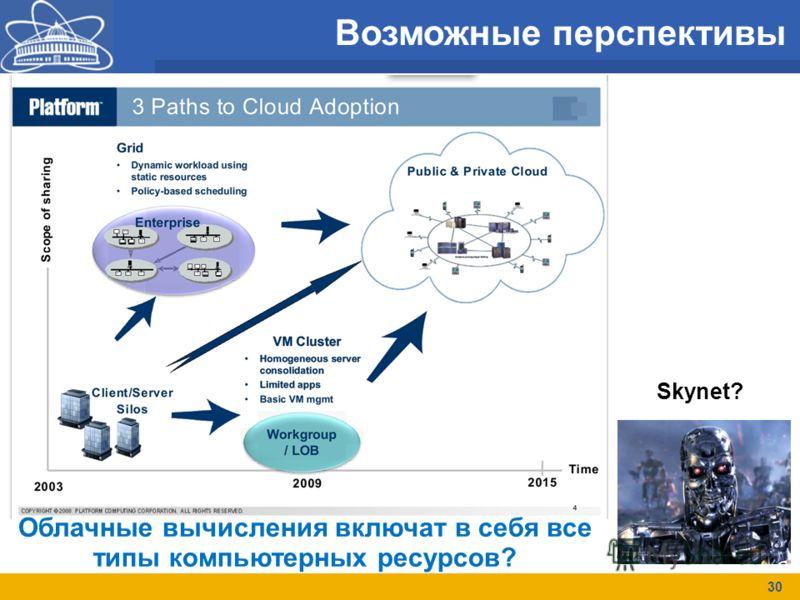Возможные перспективы 30 Облачные вычисления включат в себя все типы компьютерных ресурсов? Skynet?
