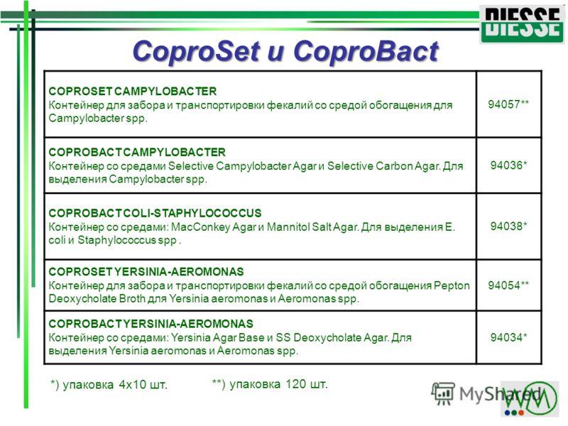 COPROSET CAMPYLOBACTER Контейнер для забора и транспортировки фекалий со средой обогащения для Campylobacter spp. 94057** COPROBACT CAMPYLOBACTER Контейнер со средами Selective Campylobacter Agar и Selective Carbon Agar. Для выделения Campylobacter s