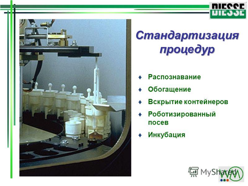 Распознавание Обогащение Вскрытие контейнеров Роботизированный посев Инкубация Стандартизация процедур