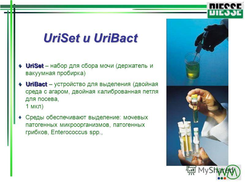UriSet UriSet – набор для сбора мочи (держатель и вакуумная пробирка) UriBact UriBact – устройство для выделения (двойная среда с агаром, двойная калиброванная петля для посева, 1 мкл) Среды обеспечивают выделение: мочевых патогенных микроорганизмов,
