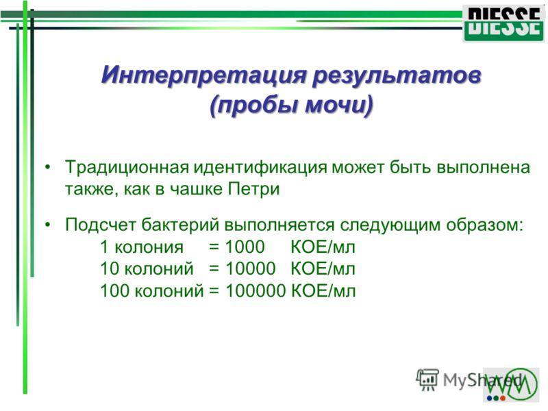 Интерпретация результатов (пробы мочи) Традиционная идентификация может быть выполнена также, как в чашке Петри Подсчет бактерий выполняется следующим образом: 1 колония = 1000 КОЕ/мл 10 колоний = 10000 КОЕ/мл 100 колоний = 100000 КОЕ/мл