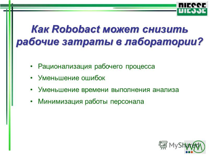Как Robobact может снизить рабочие затраты в лаборатории? Рационализация рабочего процесса Уменьшение ошибок Уменьшение времени выполнения анализа Минимизация работы персонала