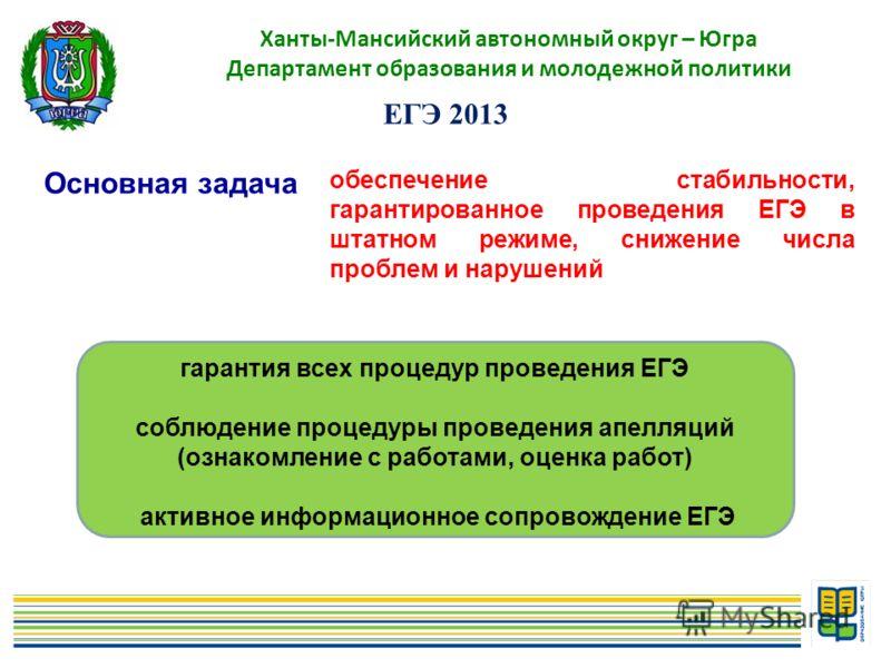 4 Ханты-Мансийский автономный округ – Югра Департамент образования и молодежной политики Основная задача ЕГЭ 2013 обеспечение стабильности, гарантированное проведения ЕГЭ в штатном режиме, снижение числа проблем и нарушений гарантия всех процедур про