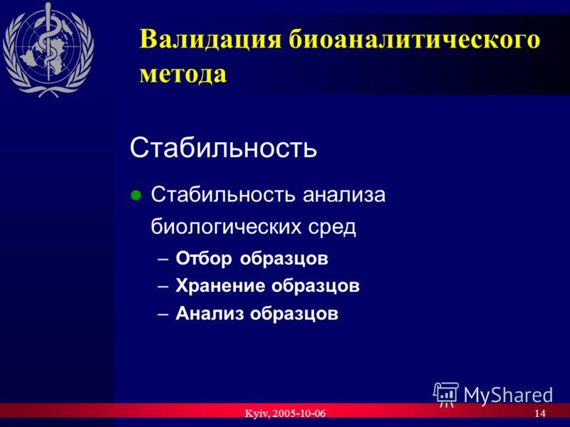 Kyiv, 2005-10-0614 Валидация биоаналитического метода Стабильность Стабильность анализа биологических сред –Отбор образцов –Хранение образцов –Анализ образцов