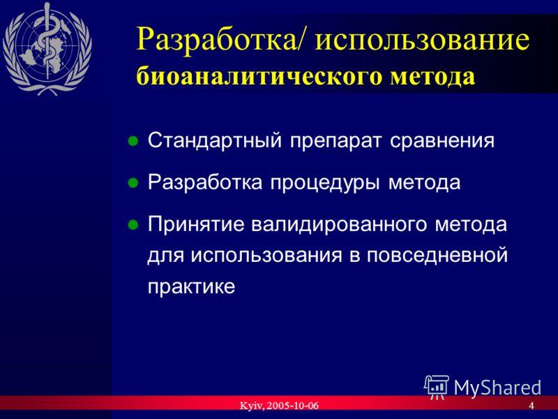 Kyiv, 2005-10-064 Разработка/ использование биоаналитического метода Стандартный препарат сравнения Разработка процедуры метода Принятие валидированного метода для использования в повседневной практике