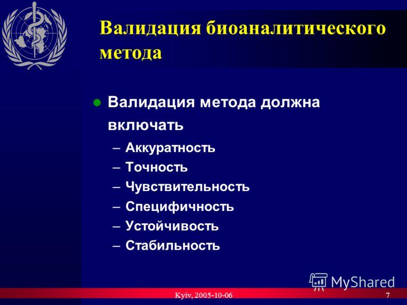 Kyiv, 2005-10-067 Валидация биоаналитического метода Валидация метода должна включать –Аккуратность –Точность –Чувствительность –Специфичность –Устойчивость –Стабильность