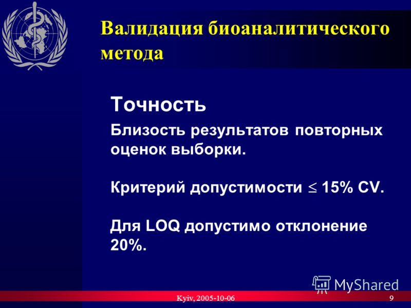 Kyiv, 2005-10-069 Валидация биоаналитического метода Точность Близость результатов повторных оценок выборки. Критерий допустимости 15% CV. Для LOQ допустимо отклонение 20%.