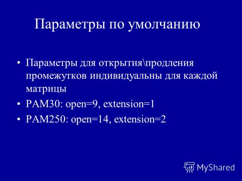 Параметры по умолчанию Параметры для открытия\продления промежутков индивидуальны для каждой матрицы PAM30: open=9, extension=1 PAM250: open=14, extension=2