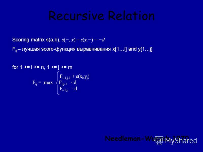 Recursive Relation Scoring matrix s(a,b), s(, x) = s(x,) = d F ij – лучшая score-функция выравнивания x[1…i] and y[1…j] for 1