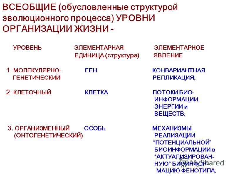 ВСЕОБЩИЕ (обусловленные структурой эволюционного процесса) УРОВНИ ОРГАНИЗАЦИИ ЖИЗНИ - УРОВЕНЬ ЭЛЕМЕНТАРНАЯ ЭЛЕМЕНТАРНОЕ ЕДИНИЦА (структура) ЯВЛЕНИЕ 1. МОЛЕКУЛЯРНО- ГЕН КОНВАРИАНТНАЯ ГЕНЕТИЧЕСКИЙ РЕПЛИКАЦИЯ; 2. КЛЕТОЧНЫЙ КЛЕТКА ПОТОКИ БИО- ИНФОРМАЦИИ,