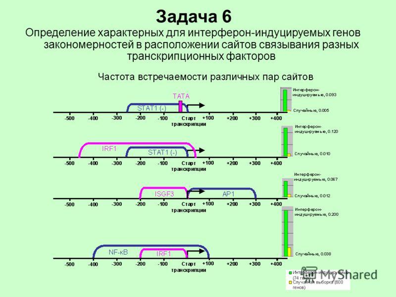 Задача 6 Определение характерных для интерферон-индуцируемых генов закономерностей в расположении сайтов связывания разных транскрипционных факторов