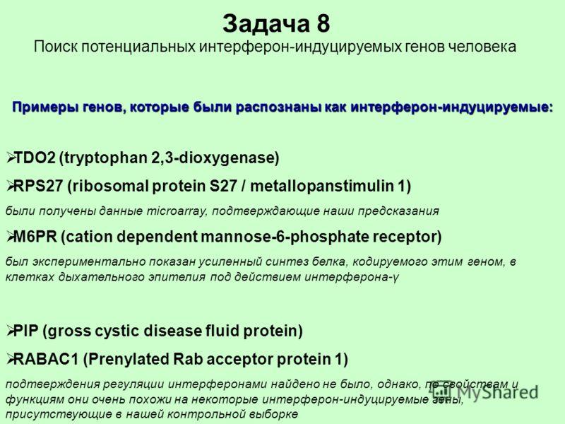 TDO2 (tryptophan 2,3-dioxygenase) RPS27 (ribosomal protein S27 / metallopanstimulin 1) были получены данные microarray, подтверждающие наши предсказания M6PR (cation dependent mannose-6-phosphate receptor) был экспериментально показан усиленный синте