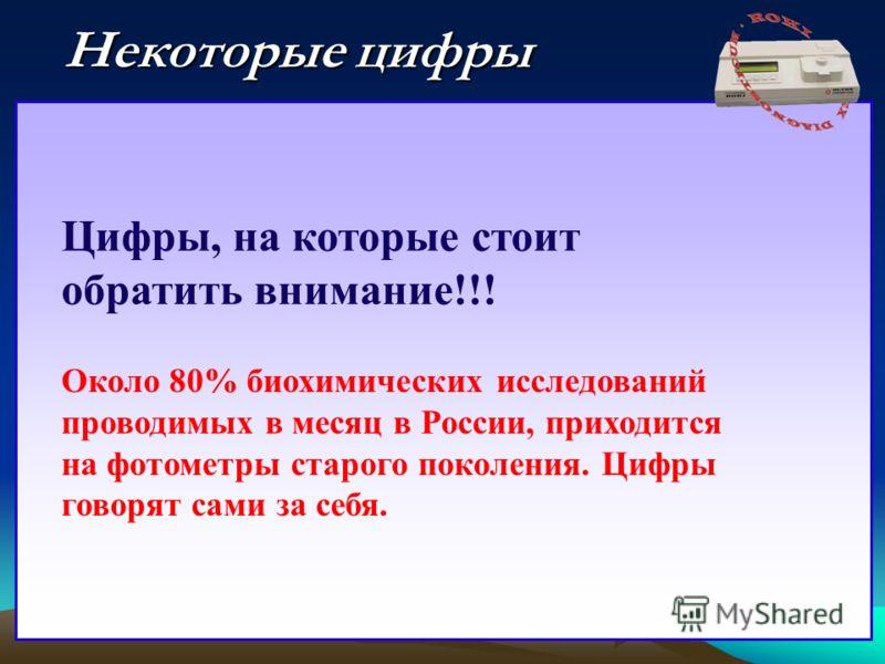 Некоторые цифры Цифры, на которые стоит обратить внимание!!! Около 80% биохимических исследований проводимых в месяц в России, приходится на фотометры старого поколения. Цифры говорят сами за себя.