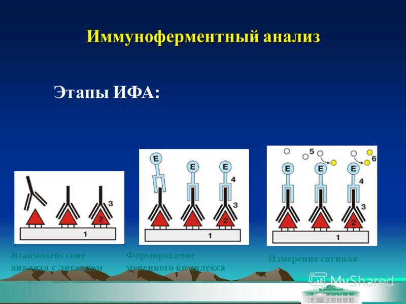 Иммуноферментный анализ Этапы ИФА: Взаимодействие аналита с лигандом Формирование меченного комплекса Измерение сигнала