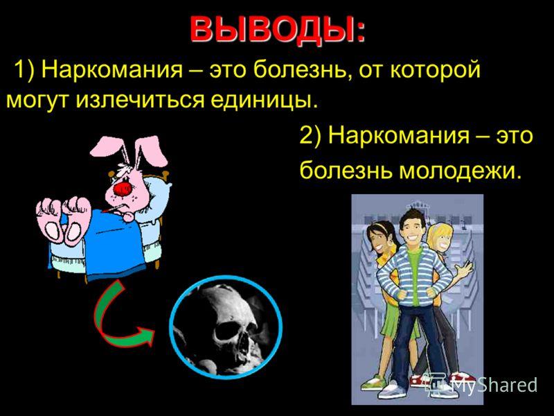 ВЫВОДЫ: 1) Наркомания – это болезнь, от которой могут излечиться единицы. 2) Наркомания – это болезнь молодежи.