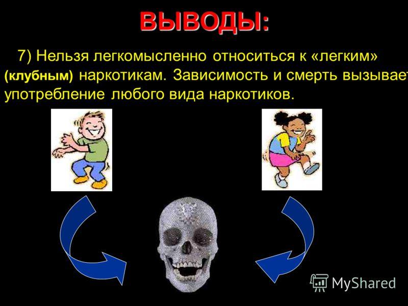 ВЫВОДЫ: 7) Нельзя легкомысленно относиться к «легким» (клубным) наркотикам. Зависимость и смерть вызывает употребление любого вида наркотиков.
