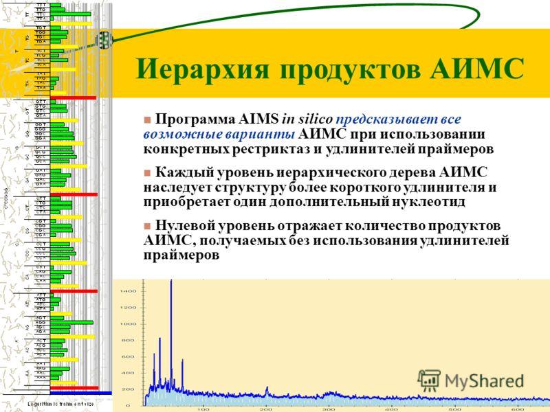 Иерархия продуктов АИМС Программа AIMS in silico предсказывает все возможные варианты АИМС при использовании конкретных рестриктаз и удлинителей праймеров Каждый уровень иерархического дерева АИМС наследует структуру более короткого удлинителя и прио
