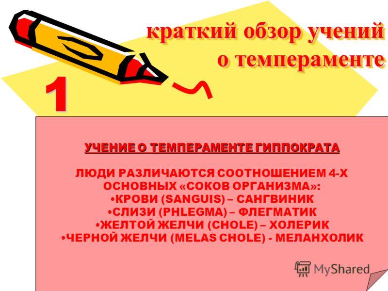 краткий обзор учений о темпераменте 1 УЧЕНИЕ О ТЕМПЕРАМЕНТЕ ГИППОКРАТА ЛЮДИ РАЗЛИЧАЮТСЯ СООТНОШЕНИЕМ 4-Х ОСНОВНЫХ «СОКОВ ОРГАНИЗМА»: КРОВИ (SANGUIS) – САНГВИНИК СЛИЗИ (PHLEGMA) – ФЛЕГМАТИК ЖЕЛТОЙ ЖЕЛЧИ (CHOLE) – ХОЛЕРИК ЧЕРНОЙ ЖЕЛЧИ (MELAS CHOLE) - М