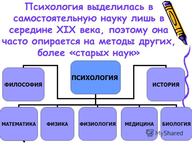 Психология выделилась в самостоятельную науку лишь в середине XIX века, поэтому она часто опирается на методы других, более «старых наук» ПСИХОЛОГИЯ ФИЛОСОФИЯМАТЕМАТИКАФИЗИКАФИЗИОЛОГИЯМЕДИЦИНАБИОЛОГИЯИСТОРИЯ