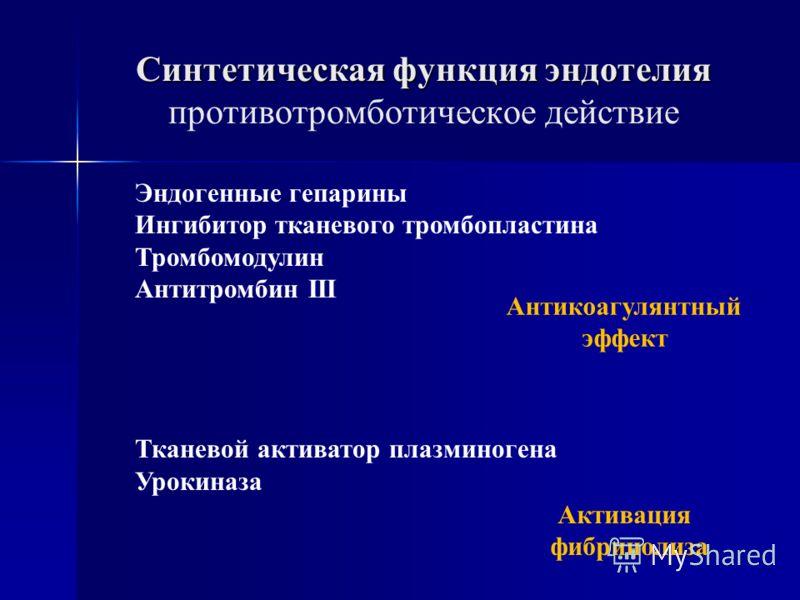 Эндогенные гепарины Ингибитор тканевого тромбопластина Тромбомодулин Антитромбин III Тканевой активатор плазминогена Урокиназа Антикоагулянтный эффект Синтетическая функция эндотелия Синтетическая функция эндотелия противотромботическое действие Акти