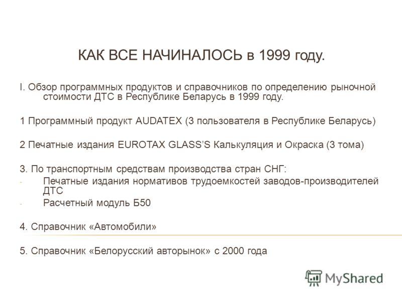КАК ВСЕ НАЧИНАЛОСЬ в 1999 году. I. Обзор программных продуктов и справочников по определению рыночной стоимости ДТС в Республике Беларусь в 1999 году. 1 Программный продукт АUDATEX (3 пользователя в Республике Беларусь) 2 Печатные издания EUROTAX GLA