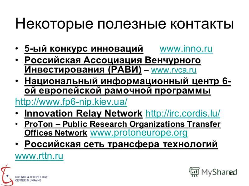 35 Некоторые полезные контакты 5-ый конкурс инноваций www.inno.ruwww.inno.ru Российская Ассоциация Венчурного Инвестирования (РАВИ) – www.rvca.ruwww.rvca.ru Национальный информационный центр 6- ой европейской рамочной программы http://www.fp6-nip.kie