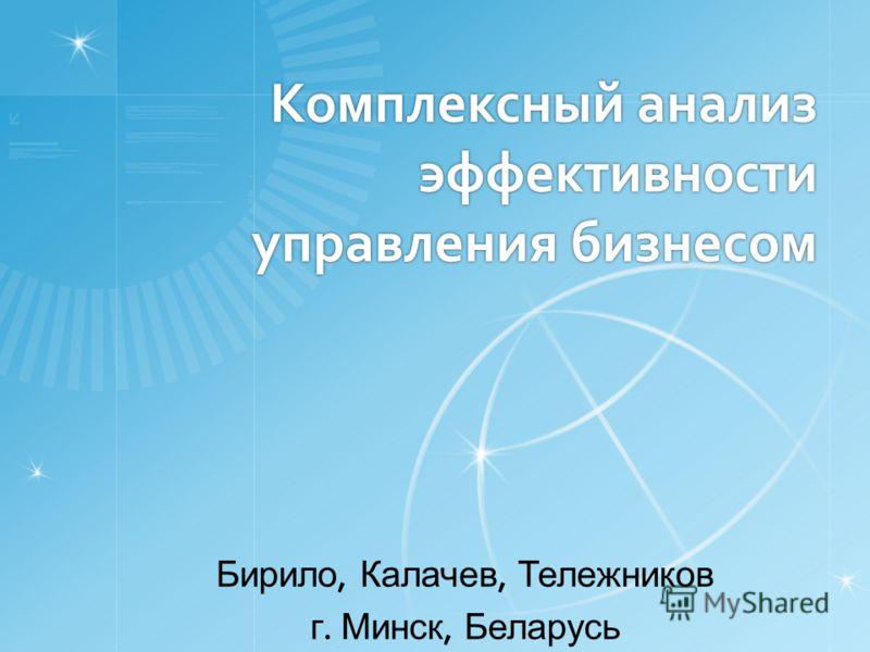 Комплексный анализ эффективности управления бизнесом Бирило, Калачев, Тележников г. Минск, Беларусь