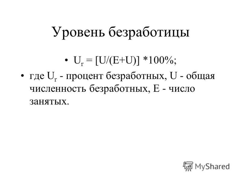 Уровень безработицы U r = [U/(E+U)] *100%; где U r - процент безработных, U - общая численность безработных, E - число занятых.
